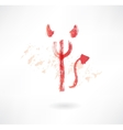 devil trident grunge icon vector image