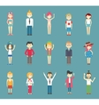 Teenager Cartoons Isolated on Blue Green vector image