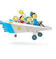 paper airplane with children vector image vector image