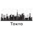 Tokyo City skyline black and white silhouette vector image
