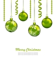 Christmas Card with Green Balls and Streamer vector image