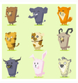 Cute Animals Icon Set 4 vector image