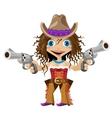 Cartoon character of Wild West girl cowboy vector image
