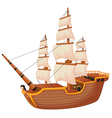 Cartoon ship isolated vector image