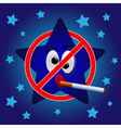 Cartoon star no smoking vector image
