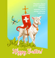 easter lamb with cross cartoon greeting card vector image
