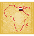 egypt on actual vintage political map of africa vector image