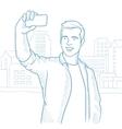 Man making selfie sketch vector image