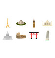 sights of different countries icons in set vector image