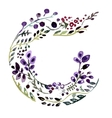 Watercolr alphabet letter c Floral frame vector image
