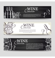 Wine banners with glasses and bottles vector image