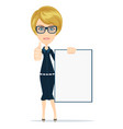young casual woman holding a white board vector image