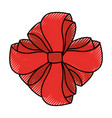 scribble christmas bow cartoon vector image