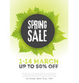 spring sale poster template with leaves and frame vector image