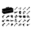 Set of black tool icon vector image