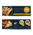 set of food voucher discount template design vector image
