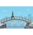 Businessman going on a bridge from mountain cliff vector image