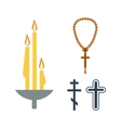 Chrch candle and religion icons vector image