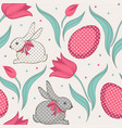 easter bunny and tulips floral seamless pattern vector image