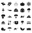 overcast icons set simple style vector image
