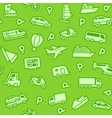 seamless green transport icons vector image
