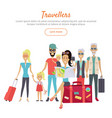 travelers of different age with suitcases banner vector image