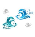Blue sea waves icon with water splash vector image