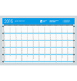 Yearly Wall Calendar Planner Template for 2016 vector image