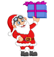 cartoon santa holding gift box vector image