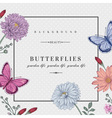 card with two butterflies and flowers vector image