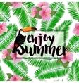 Summer poster with palm leaves seashore flower vector image