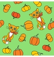 Background with pumpkin and cats vector image