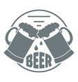 best glass beer logo simple gray style vector image