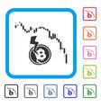 candlestick chart bitcoin crash framed icon vector image