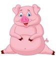 Fat pig cartoon vector image
