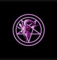 Goat skull pentagram symbol vector image