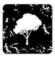 Tree with fluffy crown icon grunge style vector image