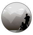 young man and woman walking on a mountain trail vector image