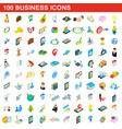 100 business icons set isometric 3d style vector image