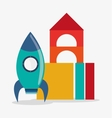 Blocks and rocket toy and game design vector image