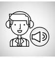 man hand drawing listening music sound vector image