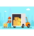 Delivery man unload delivery car boxes vector image
