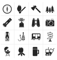 Black Camping travel and Tourism icons vector image vector image
