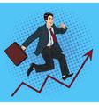 Successful Businessman Career Growth Pop Art vector image