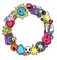 Music party kawaii frame Musical instruments vector image
