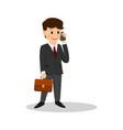 cartoon businessman talking on the phone vector image
