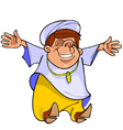 cartoon man in Muslim clothing is happy vector image