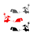 christmas set silhouette of santa claus with sled vector image