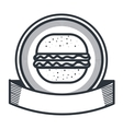hamburger restaurant emblem icon vector image