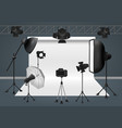 photo studio with camera lighting equipment flash vector image